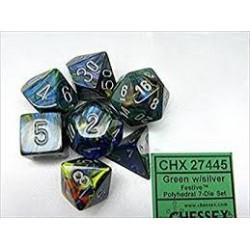 Festive Polyhedral Green/silver 7-Die Set