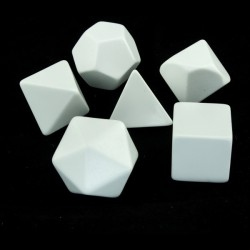 Opaque Polyhedral White Set of 6 Blank dice