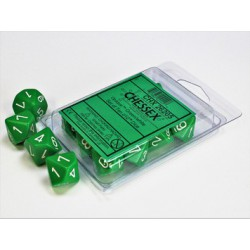 Opaque Green/white Set of Ten d10s