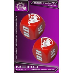 Set of 2D6 Injury Dice - Red