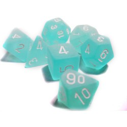 Frosted Polyhedral Teal/white 7-die Set