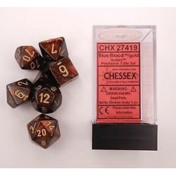 Scarab Polyhedral Blue Blood/gold 7-die Set