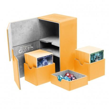 Twin Flip'n'Tray 160+ Caja de Cartas Tamaño Estándar XenoSkin Naranja