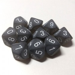 Frosted Smoke/White D10 Dice (10)