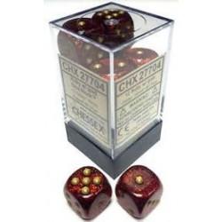 Glitter Polyhedral Ruby/gold 16mm