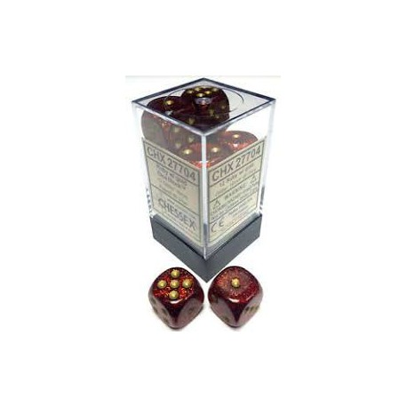 Glitter Polyhedral Ruby/gold 16mm