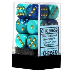 Blue-Teal w/gold 16mm