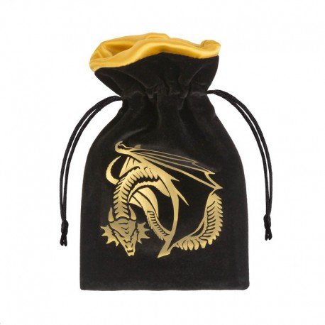 Dice Bag Dragon Black & Golden Velour